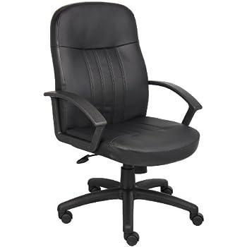 Amazon.com: PU Leather Ergonomic Office Executive Computer Desk ...