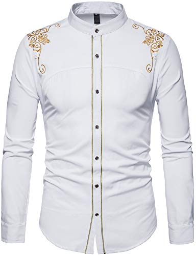 - WHATLEES Mens Casual Hipster Mandarin Collar Slim Fit Long Sleeve Dress Shirts with Gold Embroidery T156 White Large