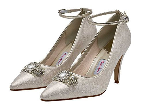 Rainbow Club Ceri - Champagne Lustre Pointed Toe Stiletto Heel Court Shoes with Diamante Detail and Gold Ankle Strap N55iHT