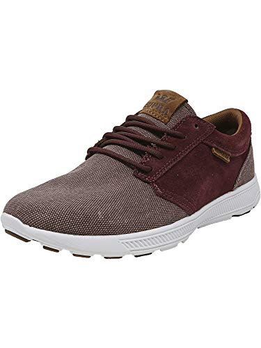 Supra Men's Hammer Run Nonstretch Burgundy/Brown-White Ankle-High Canvas Skateboarding Shoe - 12M