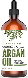 Aria Starr Beauty ORGANIC Argan Oil (4 OZ) For Hair, Skin, Face, Nails, Beard & Cuticles - Best 100% Pure Moroccan Anti Aging, Anti Wrinkle Beauty Secret, EcoCert Certified Cold Pressed Moisturizer