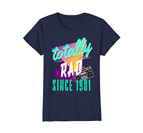 Womens Totally Rad 80s Throwback T-Shirt - Funny 1981 Birthday Tee XL (80s Aerobic Costume)