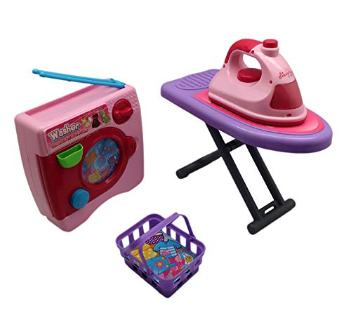 Forest & Twelfth Kids Laundry Set for Kids, Washer & Iron Set for Toddlers w/Music & Lights Toys for 3 Years Old Girls, Pretend Play | Includes Basket & Ironing Board, Unique Gift ()