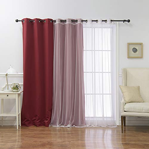 Best Home Fashion Premium Cardinal Red Wide Width Grommet Top Thermal Blackout Curtain 100