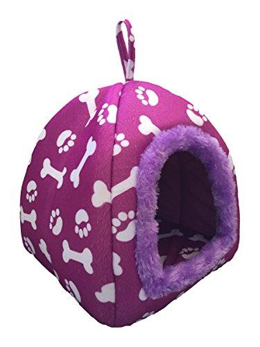 WOWOWMEOW Pet Portable Bones Print Cozy Fleece House Bed Dog, Cat, Rabbit Small Animals (M, Purple)