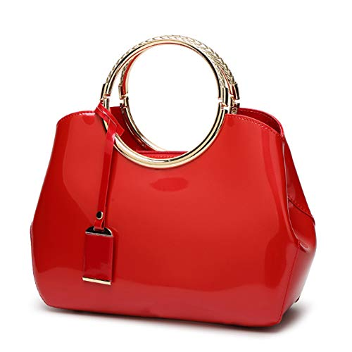G-AVERIL 2018 NEW Womens Red Handbags Ladies Top Handle Bags Patent Leather Stylish Tote Shoulder Bags Purse