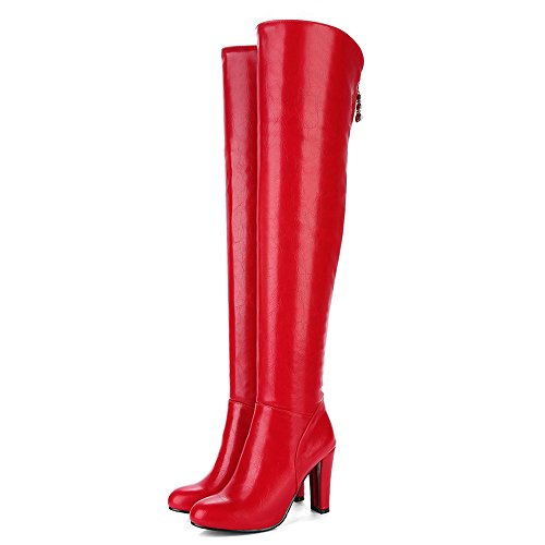 COOLCEPT Damen Mode Hohe Ferse Over Knee Stiefel With Zipper Red