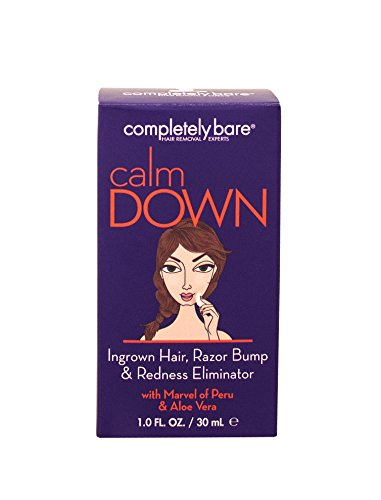 Completely Bare calm DOWN Ingrown Facial Hair, Razor Bump & Redness Eliminator - Alleviates Skin Discomfort & Promotes Skin Renewal to Unclog Pores & Reduce Ingrown Hair, 1 oz