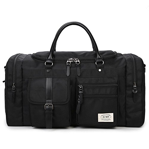 ZUMIT 45L Travel Duffel Bag Mens Womens Large Foldabling Luggage Water-resistant Super Lightweight Shoulder Suitcase Hodall Tote Handbag Brief Case Black #806