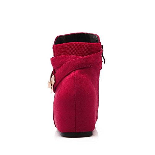 AllhqFashion Mujeres Cremallera Cuña Tachonado Tobillo Botas con Ornamento Metal Rojo
