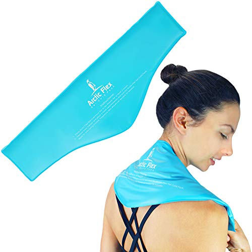 (Arctic Flex Neck Ice Pack - Cold Compress Shoulder Therapy Wrap - Cool, Reusable Medical Freezer Gel Pad for Swelling, Injuries, Headache, Cooler - Flexible Hot Microwaveable Heat - Men, Women)