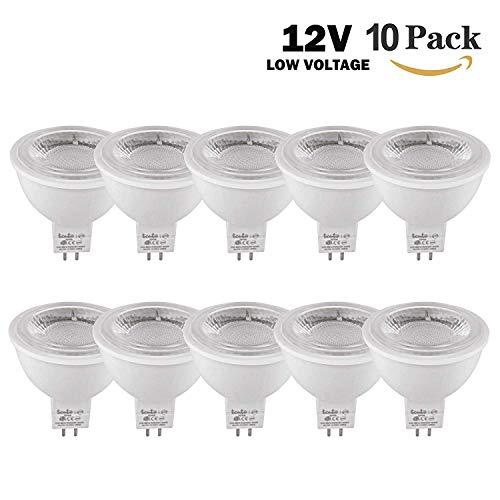Mr16 Led Piece 10 - LED Mr16 Bulbs 12 Volt Gu5.3 Bi-pin Outdoor Flood Lightfixture Spotlight Bulbs Pack of 10 Pieces COB 5w LED 50 Watts Equivalent (Daylight White 6000k)