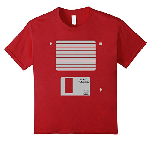 Floppy Disk Costume (Kids USB Floppy Disk Geek Computer Nerd Halloween Costume T-Shirt 10 Cranberry)