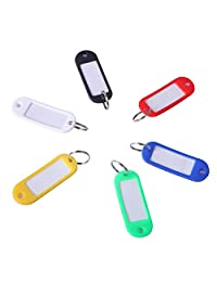 HDE 24 Pack Assorted Colour Coded Keyring Key Tags with Label Window and Split Ring