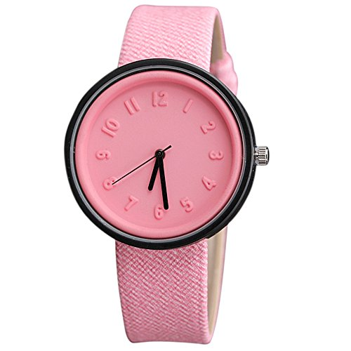Charberry Unisex Simple Number Watches Quartz Canvas Belt Wrist Watch Pink