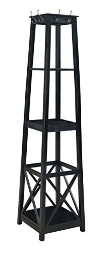 H2O  Coat Rack Tower, Free Standing with 2 Shelves, Espre...