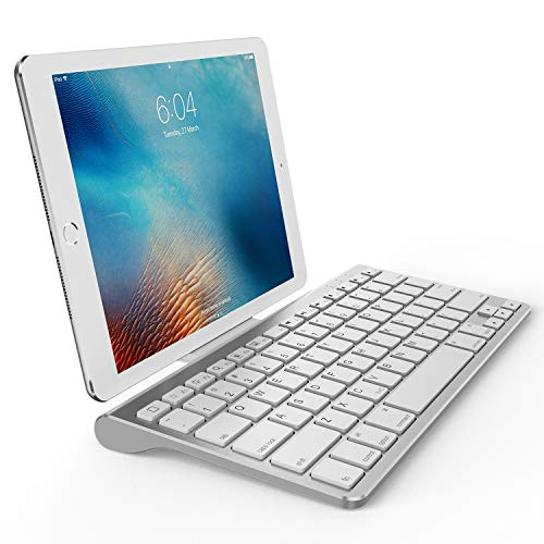 OMOTON Ultra-Slim Bluetooth Keyboard with Sliding Stand,Compatible with 2018 iPad Pro 11/12.9, New iPad 9.7 Inch, iPad Air, iPad Mini, iPhone and Other Bluetooth Enabled Devices, White