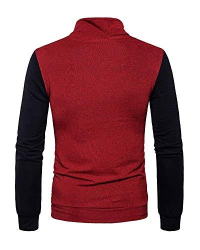 Los Hombres Punto Simple Alto Cuello Con Suéter Estilo De Burgunderrot Bolsillos Manga Elegante Camisa Larga q0twA4xI