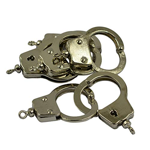 6X Silver Plated Mini Thumb Finger Handcuffs Charms DIY Making Keyring Clasp