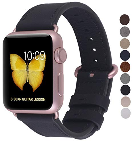 JSGJMY Compatible with Iwatch Band 42mm 44mm Women Men Genuine Leather Loop Replacement Strap Compatible with Iwatch Series 3 2 1 Sport Edition(42mm 44mm M/L,Black+Rose Gold Clasp)