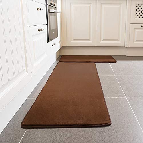 "Kitchen Rug Set, LEEVAN Memory Foam Kitchen Comfort Mat Super Soft Rug Microfiber Flannel Area Runner Rugs Non-Slip Backing Washable Bathroom Rug Set of 2 Pcs- 19""x23""+19""x47"" (Brown)"