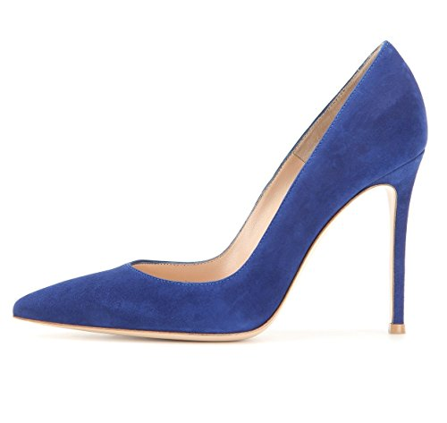 EDEFS Klassische Damen Pumps | Moderne Damen High Heels | Stiletto Schuhe | Damen Geschlossene Pumps Blau