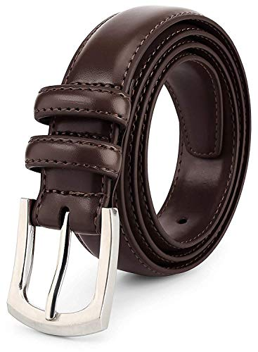 Men's Genuine Leather Dress Belt Classic Stitched Design 30mm 'ALL LEATHER' Dark Brown Size 42