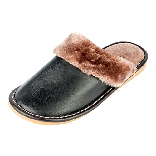 Haisum 8813-m - Zapatillas de estar por casa de Piel Sintética para hombre negro