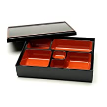 Kotobuki Lacquer Japanese Bento Box with 5-Divided Compartments, Lid Included#280-831