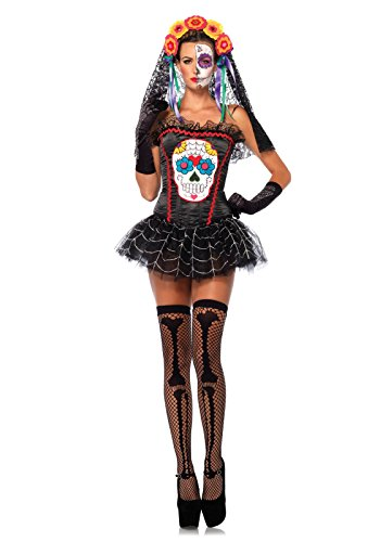 Leg Avenue Women's Sugar Skull Bustier Costume Accessory, Black, Small for $<!--$15.00-->