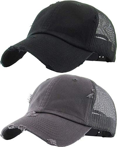 H-6140-2-K0670 2-Pack Trucker Hat Bundle: Black and Grey Distressed