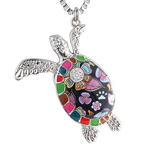 Luckeyui Unique Sea Turtle Gift Necklace for Women Multicolor Enamel Tortoise Charm Pendants
