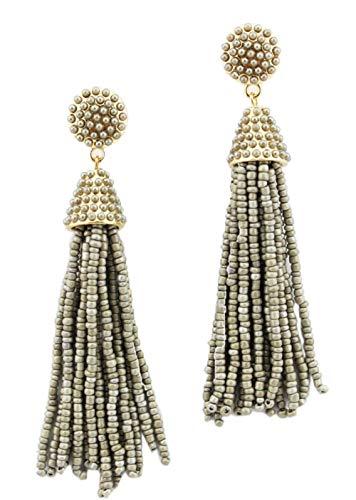 stylesilove Womens Fashion Handmade Hand Beaded Tassels Long Earrings (Gray)