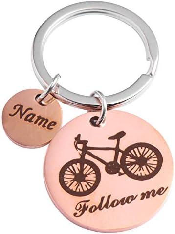 私に従ってくださいキーチェーン金属自転車チャームキーリング卒業ギフトパーソナライズされた友人カップルキーチェーン用女性男性ゴールデン