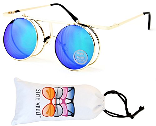 V164-vp Style Vault Round Metal Django Flip up Sunglasses (098 Gold-Emerald Mirror, - Up Glasses With Flip Shades