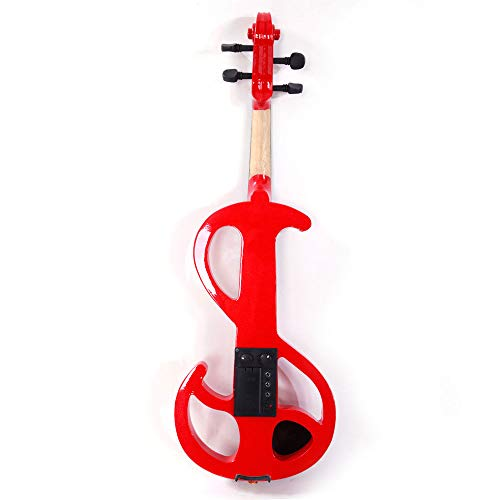 GHP Red Beginners 8 Pattern Electroacoustic Violin with Case Bow Rosin & Accessories by Globe House Products