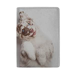 Two Small Dogs Playing Together Outdoors Blocking Print Passport Holder Cover Case Travel Luggage Passport Wallet Card Holder Made with Leather for Men Women Kids Family