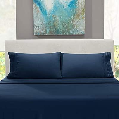 Nestl Bedding Soft Sheets Set – 4 Piece Bed Sheet Set, 3-Line Design Pillowcases – Easy Care, Wrinkle Free – Good Fit Deep Pockets Fitted Sheet – ...