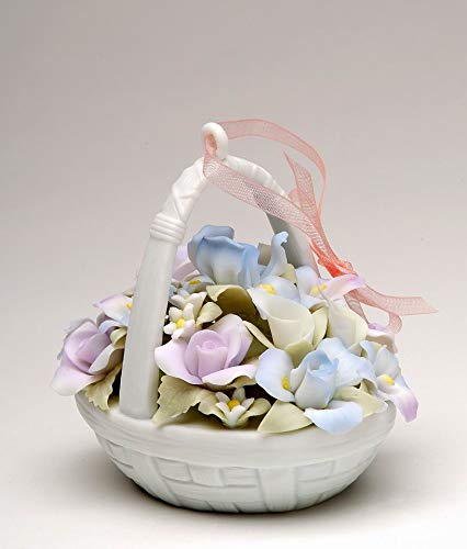 Cosmos Gifts Fine Porcelain Rose and Iris Flowers Basket Figurine Ornament, 3-1/3