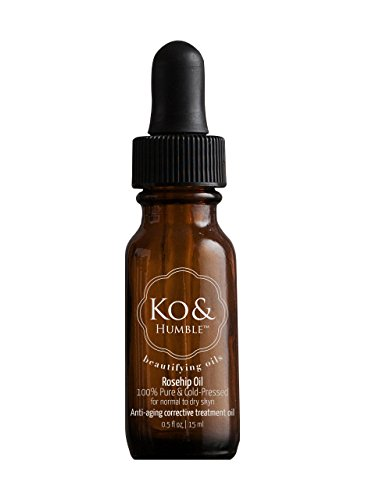 Rosehip Oil, Organic, from Ko & Humble Beautifying Oils, Cold-Pressed in an Amber Glass Bottle with Dropper, Ethically Sourced, Certified Cruelty-Free, 100% Pure, 15 ml, .5 Oz