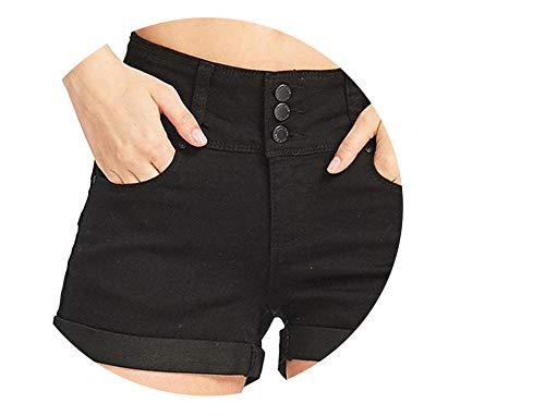 OHONLY 5 Color High-Waist Jean Zipper Botton Women's Denim Shorts Pocket Modis Shorts,Black,XL ()