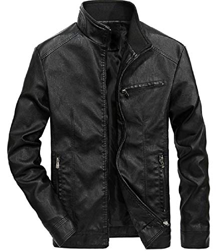 EnergyMen Motorcycle Stand Collar Fleece Lined Leather Trench Coat Black