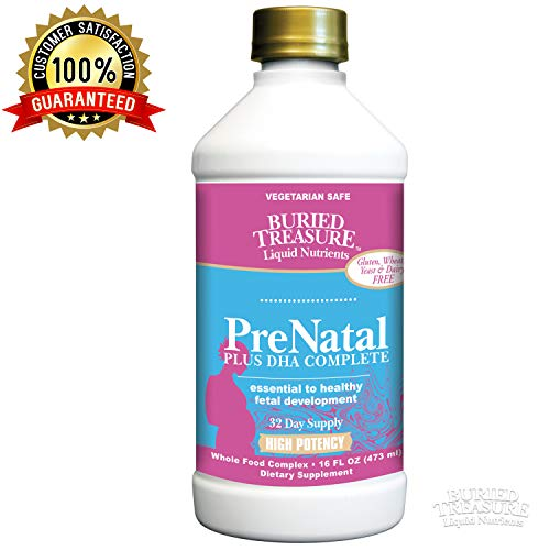 Liquid Vitamins Prenatal (Buried Treasure Prenatal Plus DHA Complete High Potency Liquid Supplement - Non-GMO, Plant Based, High Quality, Vegetarian Safe - 16 oz)