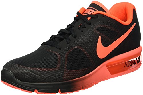 Nike Air Max Sequent 2 Mens Running Shoes Black Total Crimson