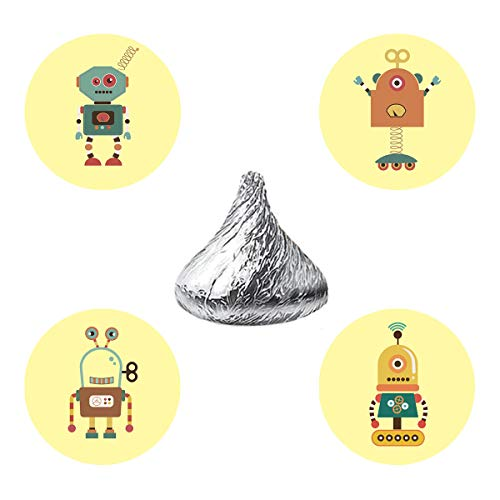 MAGJUCHE Robots Candy Stickers, Boy Girl Robot Themed Baby Shower or Birthday Party Favor Labels, Fit Hershey