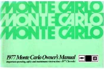 77 1977 Chevrolet Monte Carlo owners manual ORIGINAL