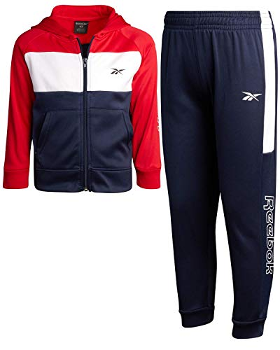 Reebok Little Boys 2-Piece Athletic Tricot Tracksuit Set with Zip Up Jacket and Jog Pants