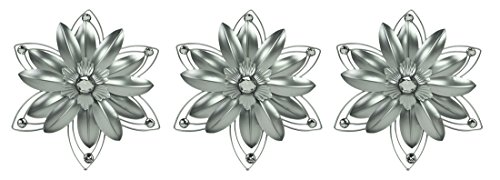 Elico Ltd. Jeweled 3D Metal Flower Wall Sculpture Set of 3 (Flowers Wall For Metal)