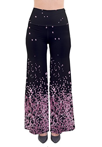 PattyCandy Womens Pink Cherry Blossom Comfy Cotton Palazzo Pants,Pink-S