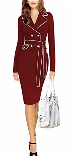 Pencil Business Red Sheath Wine Double Elegant Women's sleeves Retro Dress Long breasted Alion qaT8xwf4